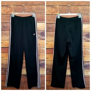 Adiddas black and light pink stripe track pants